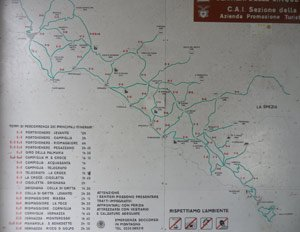 Map of all roads in Portovenere and the Cinque Terre